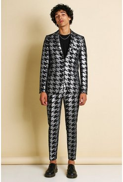 Silver Skinny Metallic Dogtooth Jacquard Suit Jacket