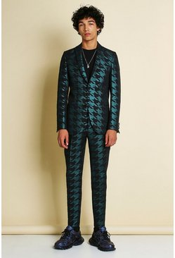 Teal Skinny Metallic Dogtooth Jacquard Suit Jacket