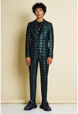 Teal Skinny Metallic Dogtooth Jacquard Suit Jacket