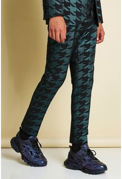 Teal Skinny Metallic Dogtooth Jacquard Suit Trouser