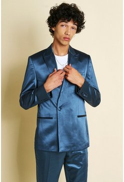 Teal Skinny Plain Sateen Double Breasted Suit Jacket