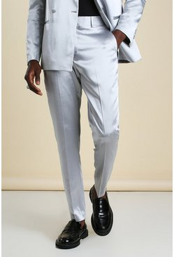 Silver Skinny Plain Sateen Suit Trouser
