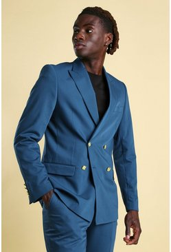 Teal Skinny Plain Double Breasted Suit Jacket