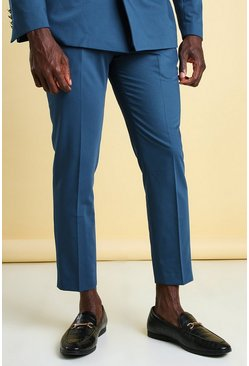 Teal Skinny Plain Cropped Suit Trouser