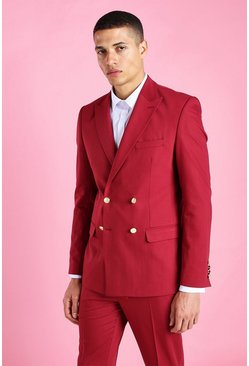 Burgundy Skinny Plain Double Breasted Suit Jacket