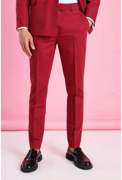 Burgundy Skinny Plain Cropped Suit Trouser