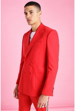 Red Skinny Plain Double Breasted Suit Jacket