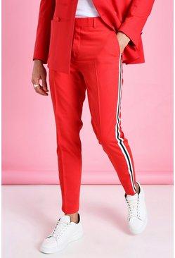 Red Skinny Plain Side Stripe Suit Trouser