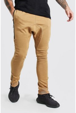 Camel Skinny Fit Jogger With Side Zips