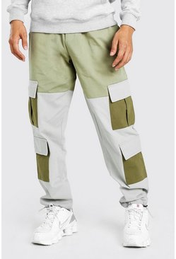 Stone Colour Block Cargo Trouser With Bungee Cord Cuff
