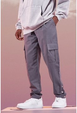 Charcoal Twill Cargo Trouser With Popper Ankle