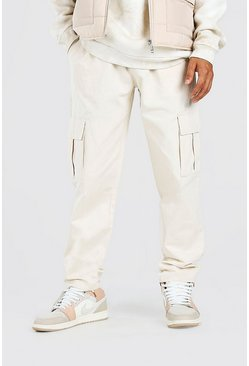 Stone Twill Cargo Trouser With Popper Ankle