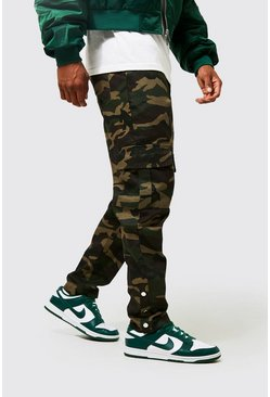 Khaki Camo Twill Cargo Trouser With Popper Ankle