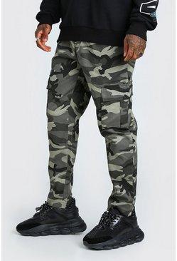 Dark grey Camo Twill Cargo Trouser With Popper Ankle