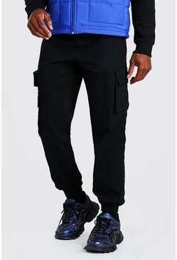 Black Twill Cargo Pants With Contrast Belt Detail