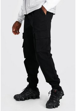 Black Twill Cargo Trouser With Contrast Belt Detail