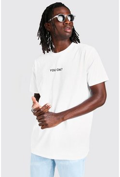 White Oversized You Ok? Slogan T-Shirt