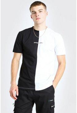 Black Official MAN Back Print Spliced T-Shirt