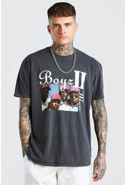 T-shirt licence Boys 2 Men coupe oversize surteint, Anthracite :