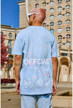 T-shirt coupe oversize imprimé graffiti MAN officiel, Bleu