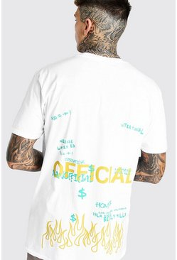 White Oversized MAN Official Graffiti Print T-Shirt