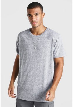 Grey marl Oversized Basic Crew Neck T-Shirt in Marl