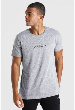 Grey marl MAN Signature Crew Neck T-Shirt in Marl