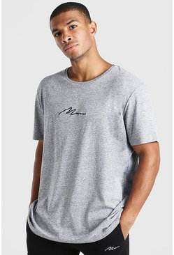 Grey marl Oversized MAN Signature Crew Neck T-Shirt
