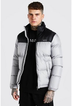 Grey MAN Dash Colour Block Puffer