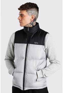 Grey MAN Dash Colour Block Gilet