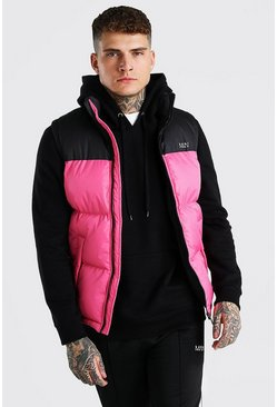 Pink MAN Dash Colour Block Gilet