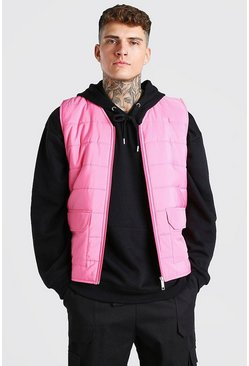 Pastel pink Zip Through Padded Gilet