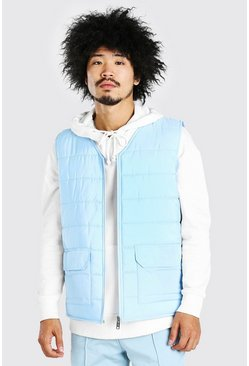 Pastel blue Zip Through Padded Gilet