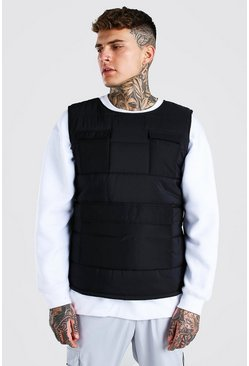 Black MAN Branded Padded Utility Gilet