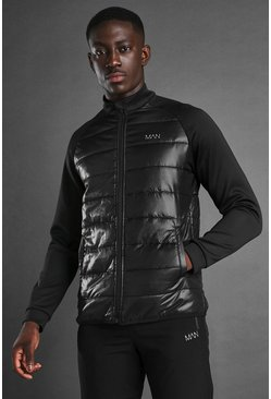 Black MAN Active Zip Through Padded Poly Top