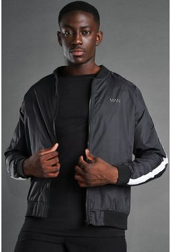 Black MAN Active Zip Through Bomber Jacket