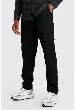 Black Twill Cargo Trouser With Popper Ankle