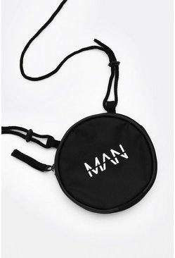 Black MAN Dash Round Lanyard Bag
