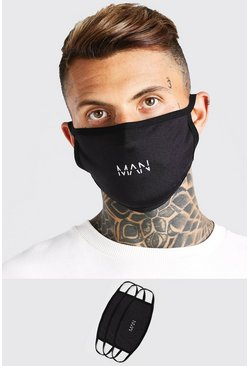 Black 3 Pack MAN Dash Reversible  Fashion Masks