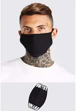 Black 4 Pack Plain Fashion Masks