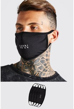 Black 4 Pack MAN Dash Reversible Fashion Masks