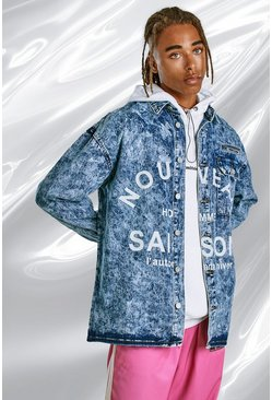 Blue Bleach Wash Denim Shirt With Faded Print