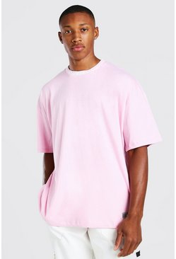 Pink Oversized Graphic Print T-Shirt With Embroiderd Neck