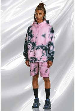 Pink Tie Dye Hoodie And Short Set With Print