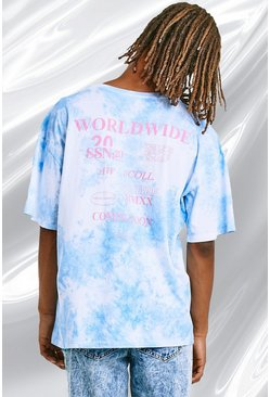 Light blue Oversized Tie Dye Tee With Back Print