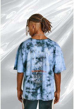 Blue Oversized Tie Dye Tee With Back Print