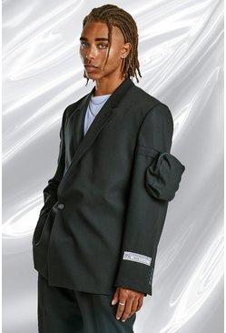 Black Relaxed Plain Utility Pocket Suit Jacket