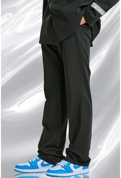 Black Relaxed Plain Suit Trousers