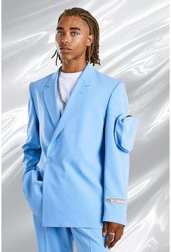 Blue Relaxed Plain Utility Pocket Suit Jacket