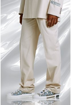 Ecru Relaxed Plain Suit Trousers